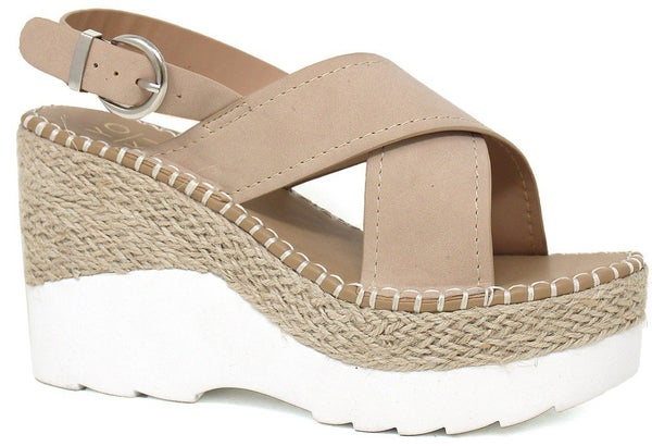 Be Direct Wedge Sandals - Beige