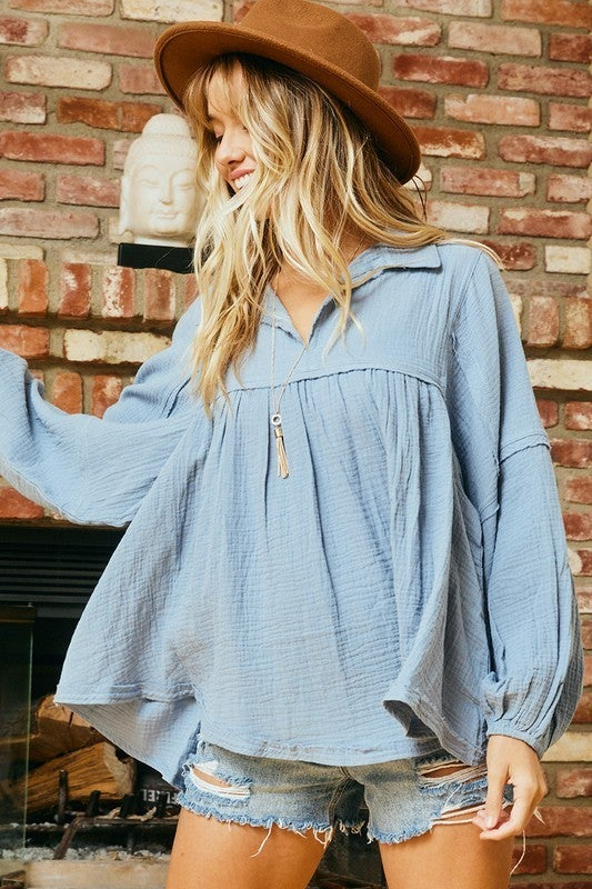 Lucky In Love Babydoll Top - Chambray
