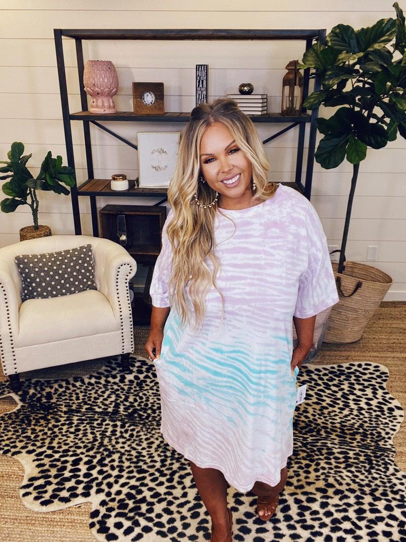 PLUS/REG Living Good Tie Dye Dress - Lilac Mint
