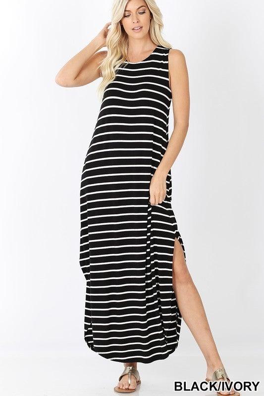 PLUS/REG Fun With Stripes Dress - Black & Off White