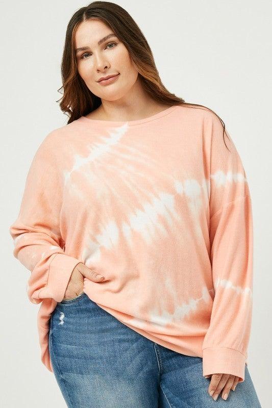 Everything Is Good Tie Dye Sweatshirt-Coral