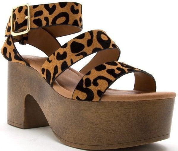 Walk My Way Clog Platform Sandals - Camel Black Leopard