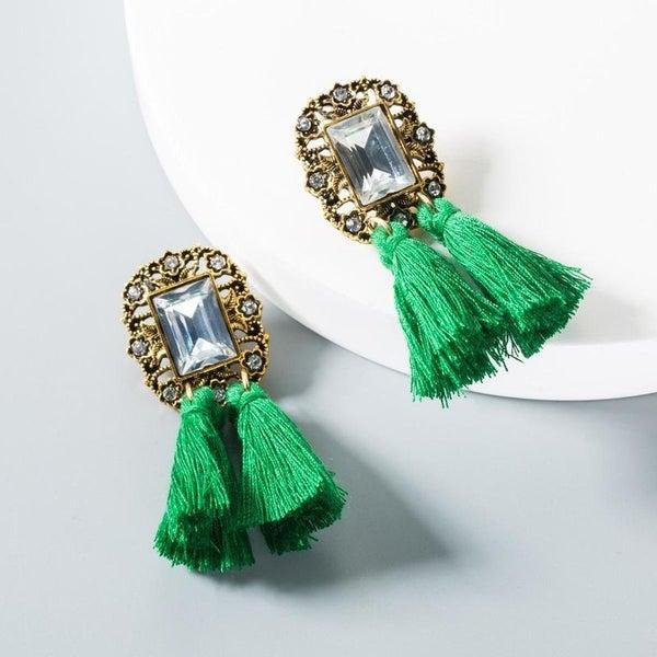 Take Interest Earrings - Green