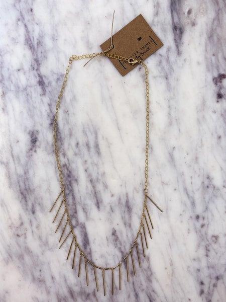 Jennifer Thames Gold Fringe Necklace