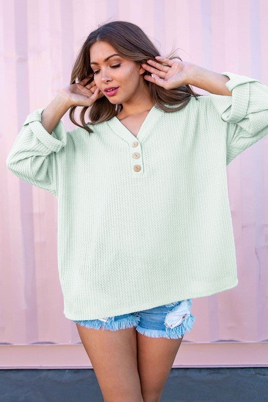 In This Moment Waffle Knit Top-Mint