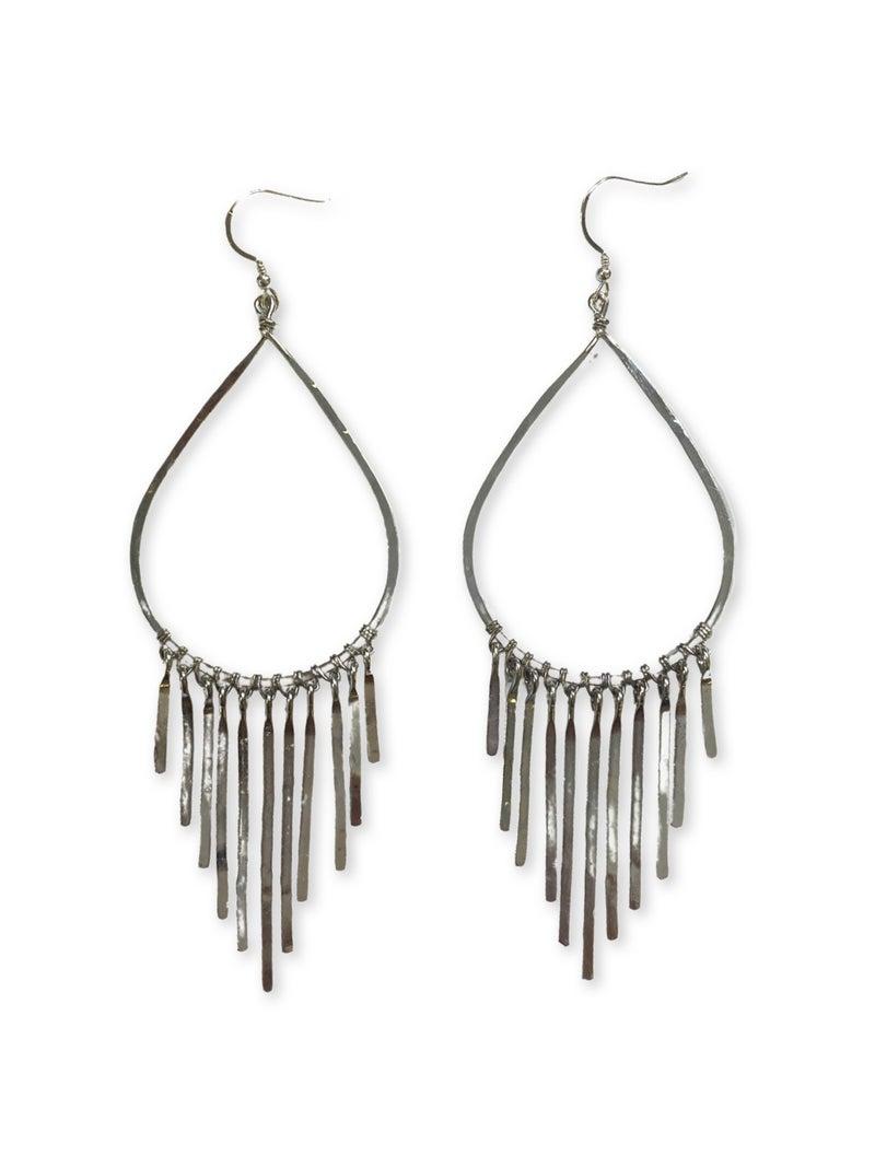 Love, Poppy Teardrop Fringe Earring - Silver