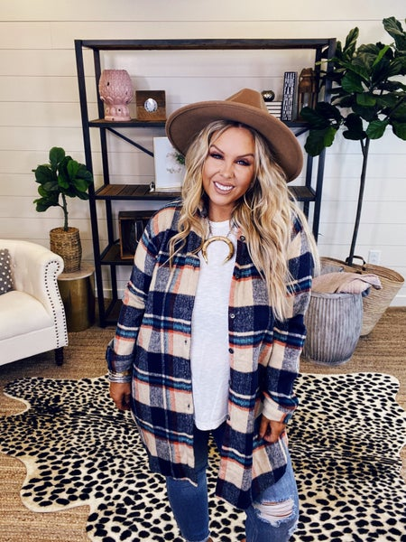Cozy Flannel - Navy/Taupe