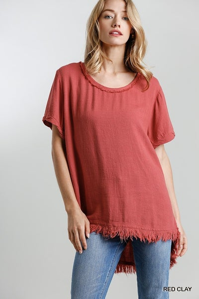 Around The Town Frayed Top