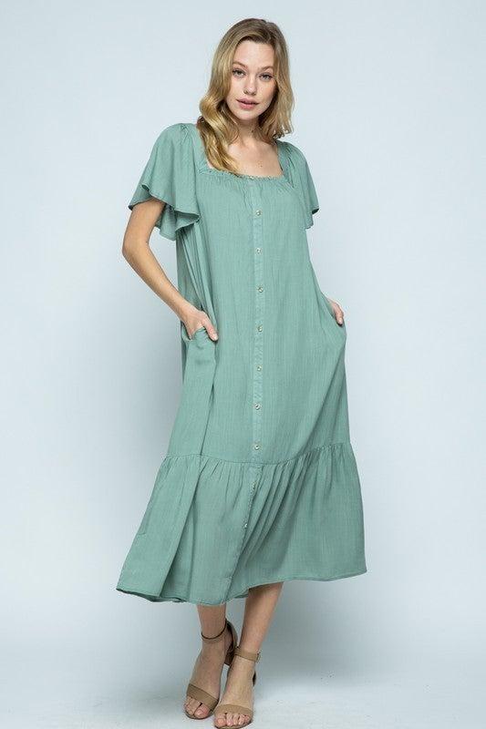 Draped In Comfort Dress - Basil