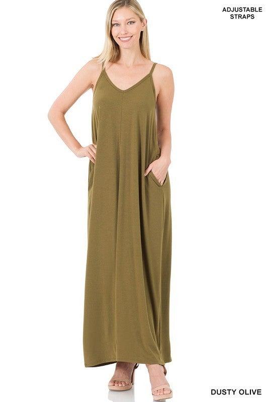 PLUS/REG Dream Big Maxi Dress - Olive