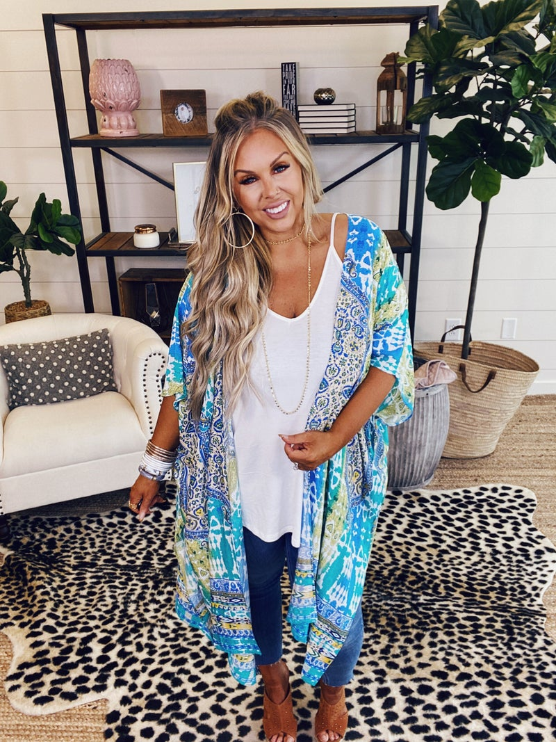 Out For The Day Kimono - Blue Multi