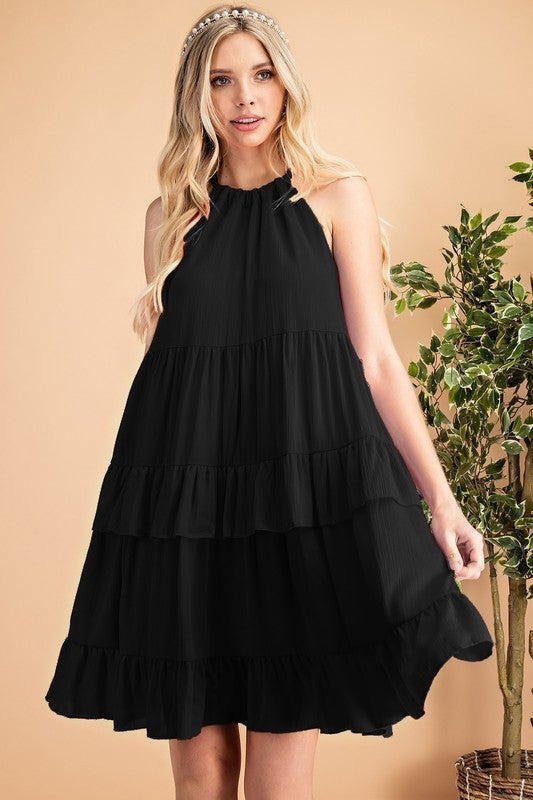 Reg/Plus Summer Sun Halter Dress - Black