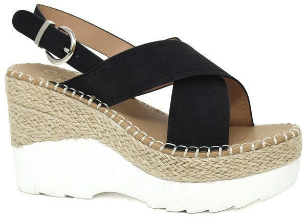 Be Direct Wedge Sandals - Black