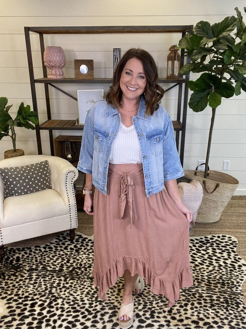Having A Good Day Midi Skirt-Copper