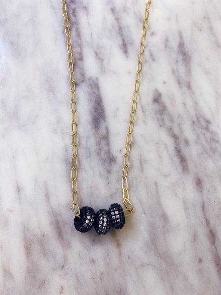 Jennifer Thames Gunmetal Nugget Necklace