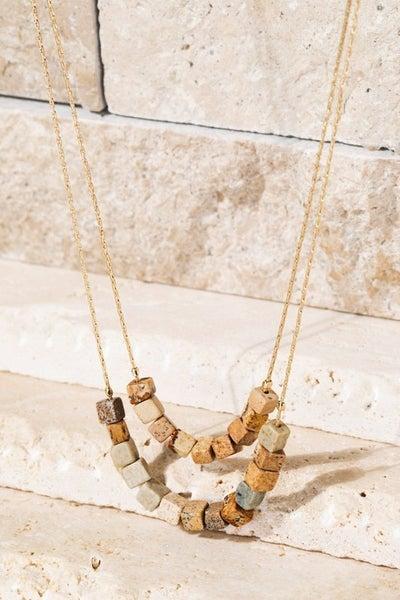 Layered Stones Necklace - Jasper