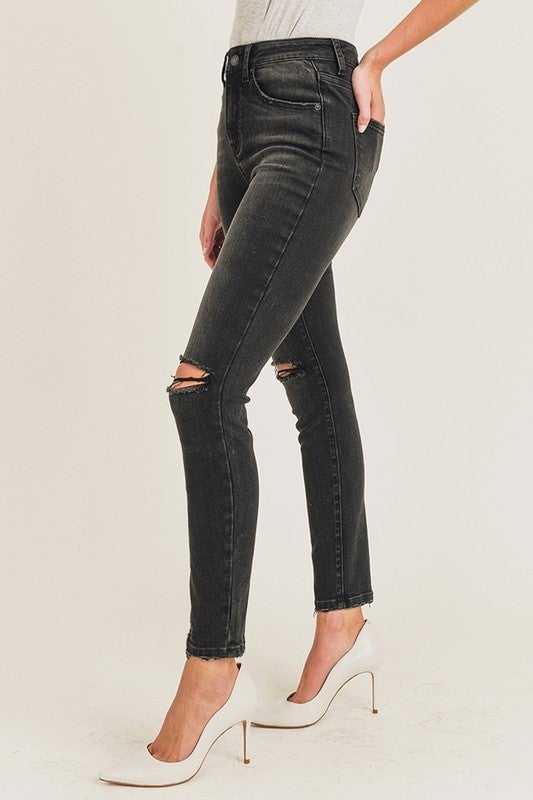 REG/PLUS That Kind Of Day Distressed Skinny Jeans - Black