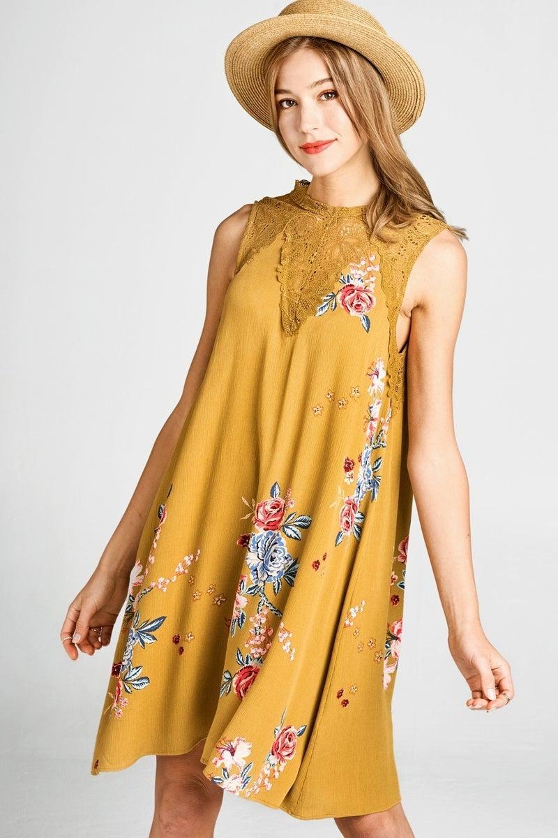 Feeling Chic Dress - Mustard Gold