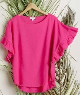 PLUS/REG Can't Stop Love Ruffle Sleeve Top-Pink