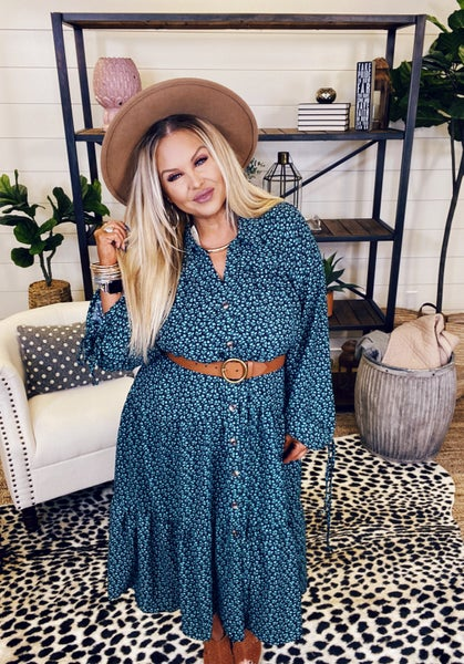 Hold Me Tight Button Down Dress - Sage