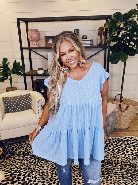 Up To The Sky Tiered Tunic-Blue