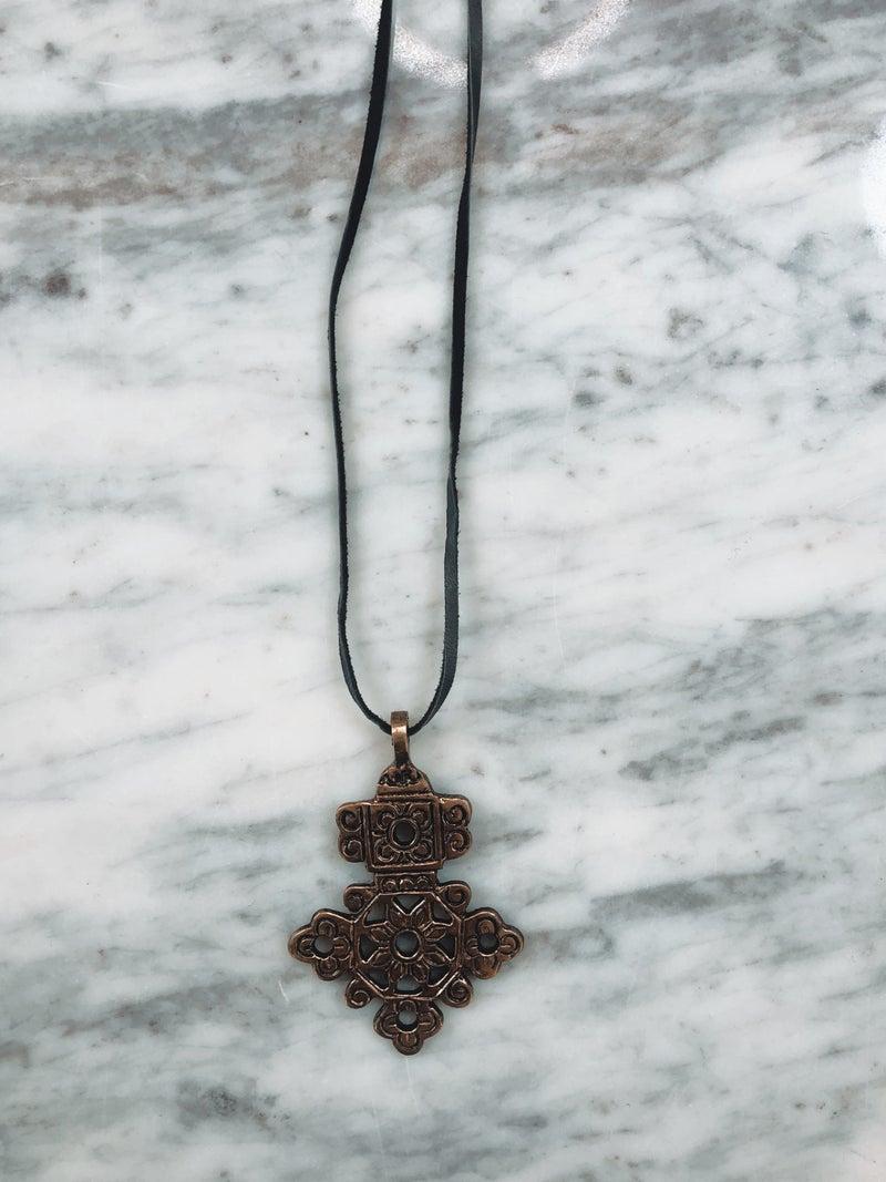 Love, Poppy Brass Cross on Leather Necklace