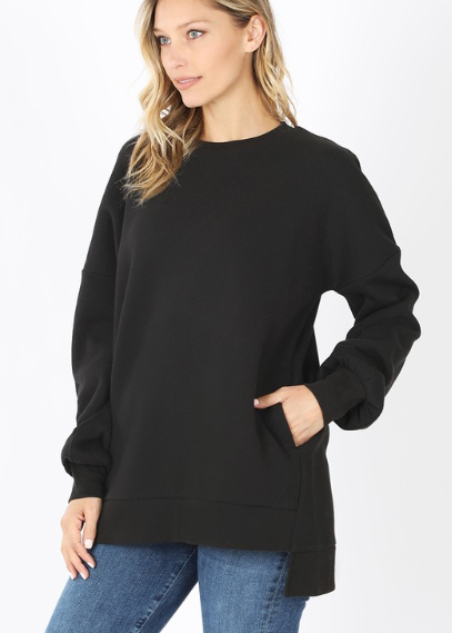Reg/Plus Cuddle Time Sweater - Black