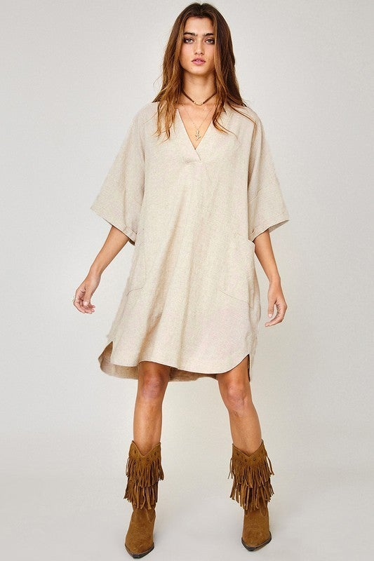 Bahama Breeze Shirt Dress-Taupe
