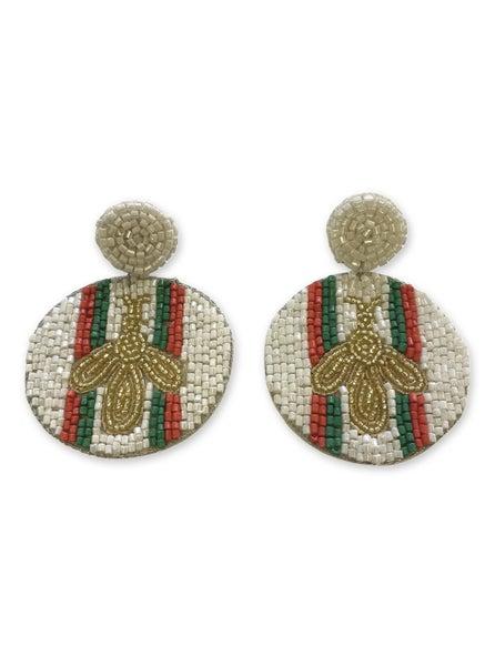 Bee & Stripe Beaded Earrings - White/Multi