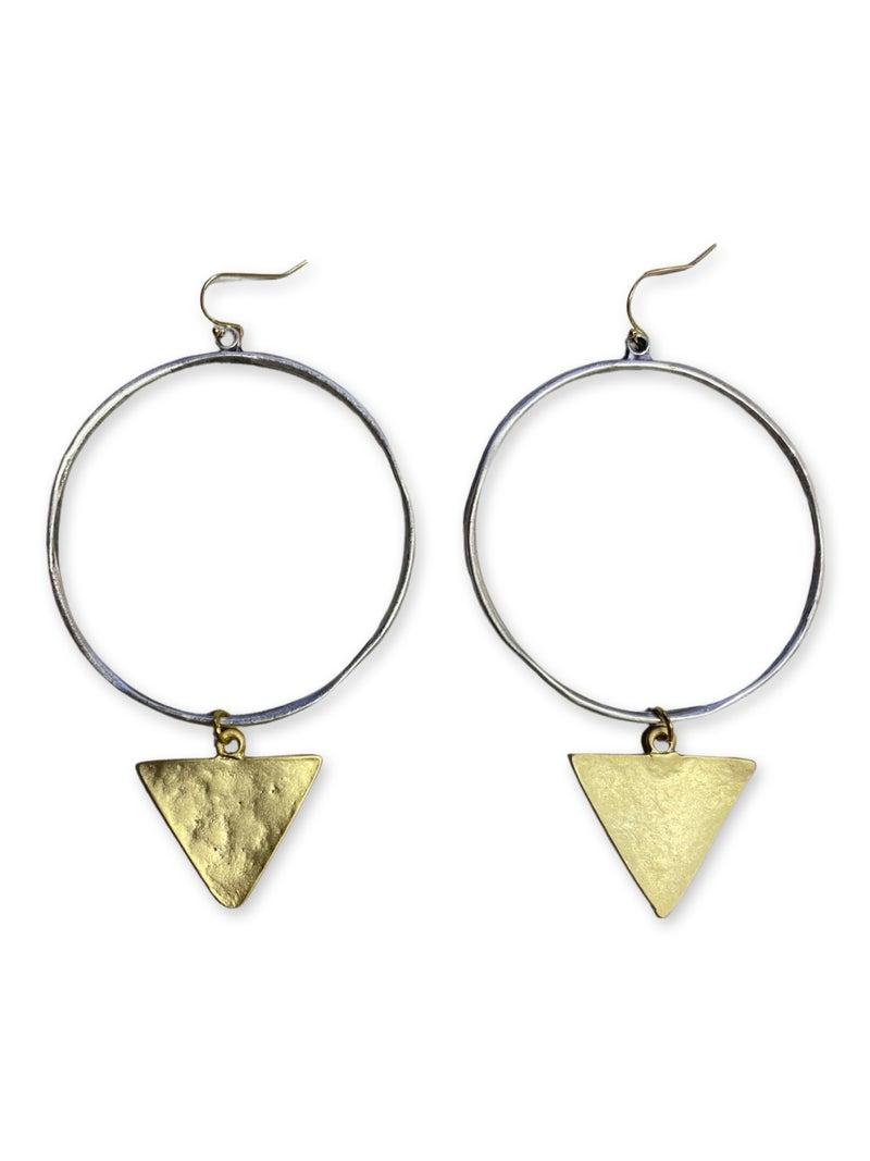 Jennifer Thames Silver Hoop w/ Gold Hammered Triangle Earrings