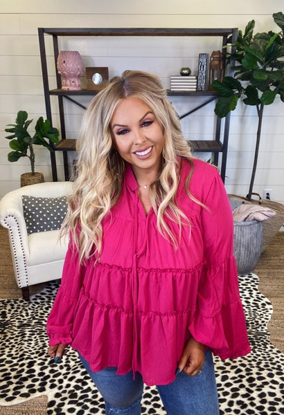 Southern Belle Top - Hot Pink