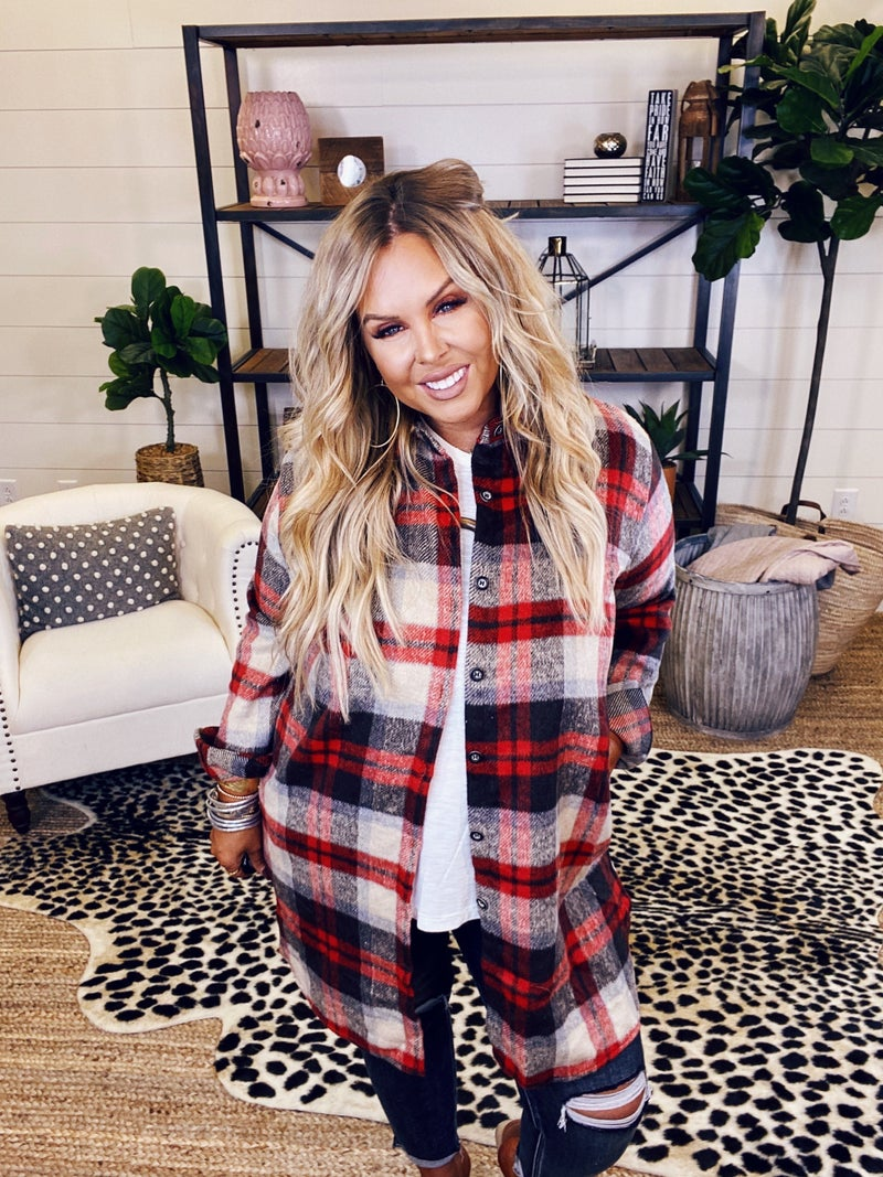 Cozy Flannel - Ivory/Red