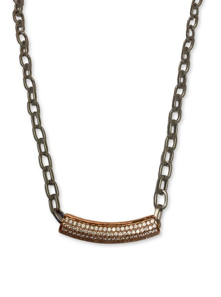 Jennifer Thames Gunmetal and Rose Gold Pave Necklace