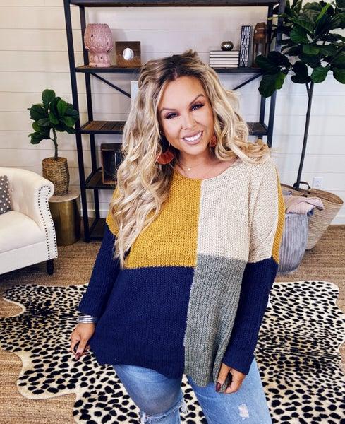 PLUS/REG Color In Contrast Sweater - Mustard