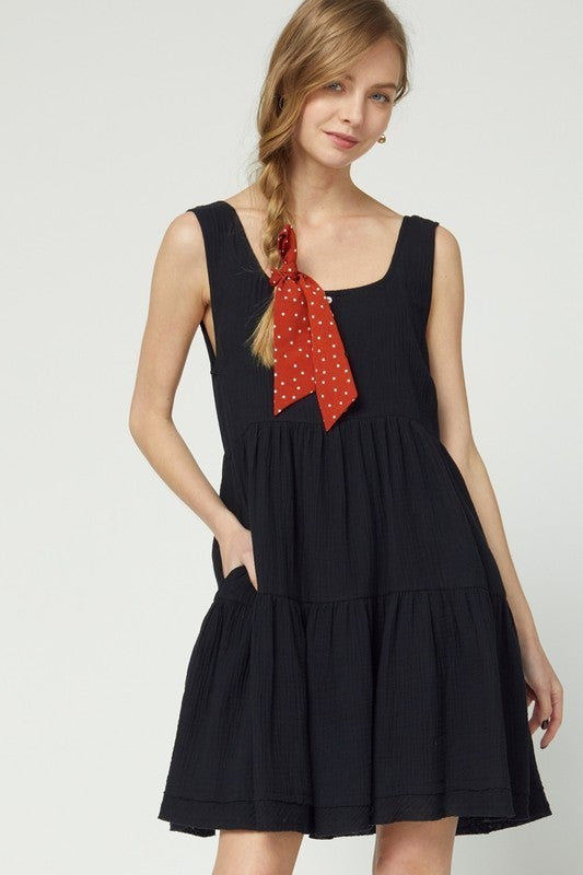 Sweet and Sassy Boho Dress - Black