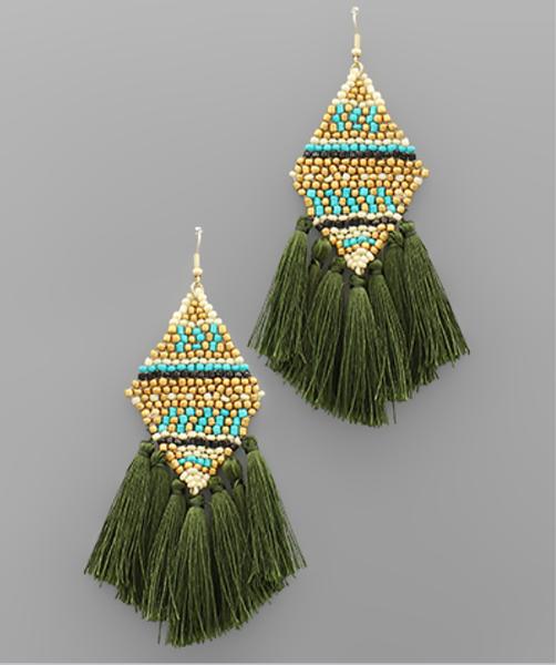 Rhombus Bead & Tassel Earrings - Olive
