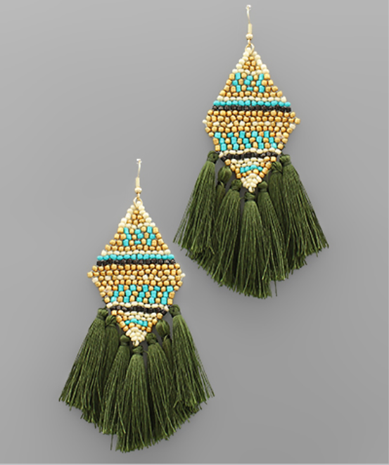Rhombus Bead & Tassel Earrings - Olive