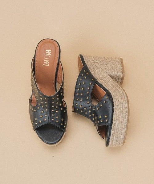 Take A Stand Studded Espadrille Heels - Black