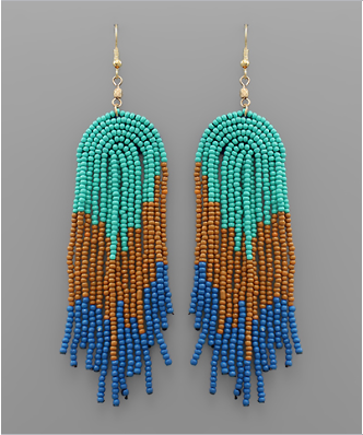 Beaded Rainbow Earrings - Turquoise & Blue