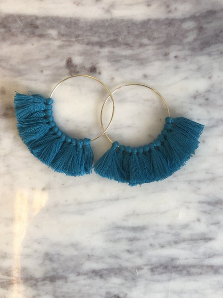 Love, Poppy Tassel Hoops - Aqua