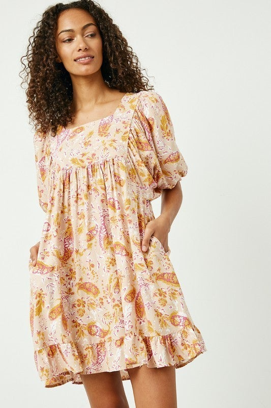 Pretty in Paisley Dress - Peach