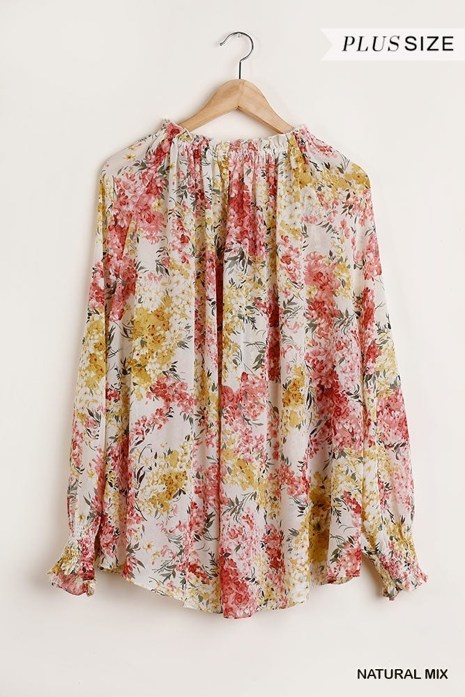 Time To Bloom Floral Print Top - Natural Mix
