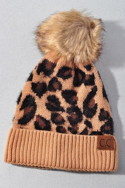 Leaping Leopards Beanie Hat - Latte