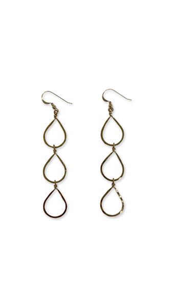 Love, Poppy 3 Tiered Teardrop Earrings - Gold