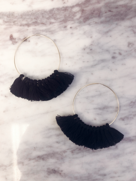 Love, Poppy Tassel Hoops - Black