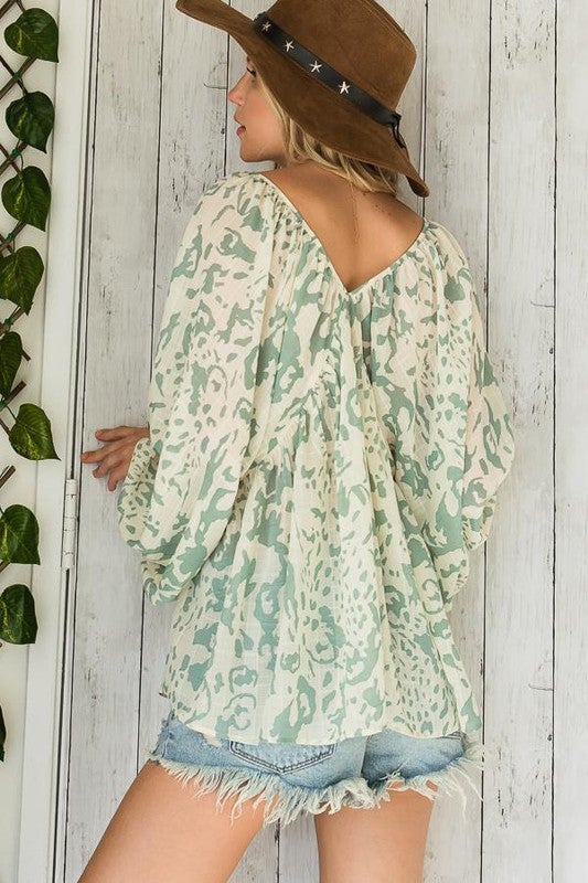 Give  A Little Babydoll Top-Sage