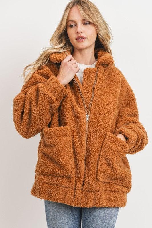 Big  Warm Teddy Bear Jacket - Camel