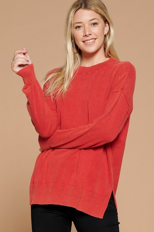 Reg/Plus Dreaming Of Chilly Weather Sweater - Washed Red