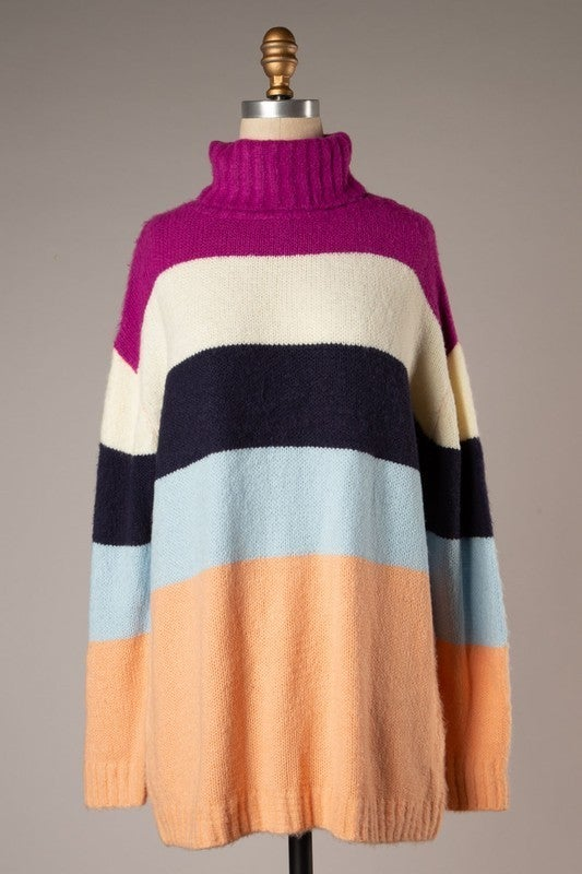 Warm Me Up By the Fire Sweater - Magenta/Peach