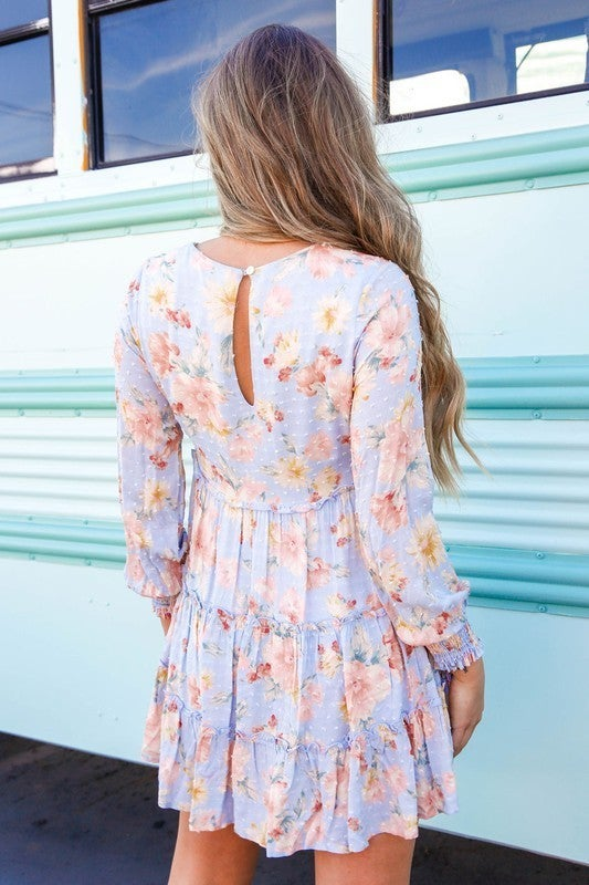 Like A Rose Floral Dress-Baby Blue